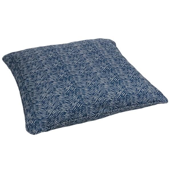 Navy Herringbone Corded Outdoor/ Indoor Large 28-inch Floor Pillow