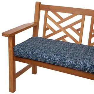 Navy Herringbone 48-inch Indoor/ Outdoor Corded Bench Cushion