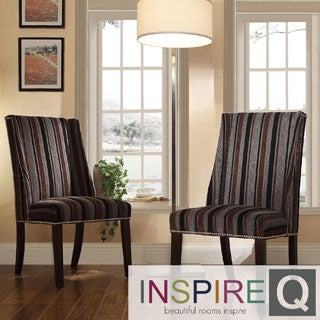 INSPIRE Q Geneva Dark Tonal Stripe Wingback Hostess Chairs (Set of 2)