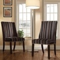 Inspire Q Regency Coarse Stripe Nailhead Wingback Hostess Chairs (Set of 2)