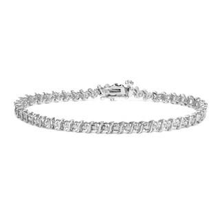 Auriya 14k White Gold 1/2ct TDW Round Diamond Link Bracelet (H-I, I2-I3)