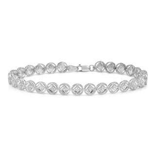 Auriya 14k White Gold 1/4ct TDW Round Diamond Link Bracelet (H-I, I2-I3)