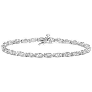 Auriya 14k White Gold 1 1/4ct TDW Round Marquise Shape Diamond Bracelet (H-I, I2-I3)