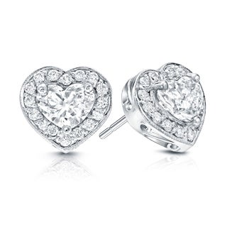 Auriya 14k Gold 2 1/8ct TDW Diamond Heart Earrings (E-F, VS1-VS2)