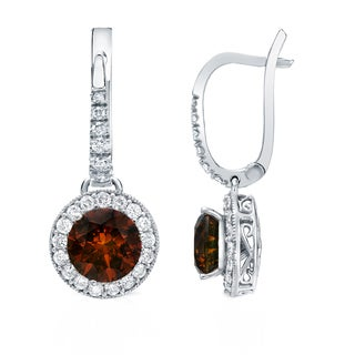 Auriya 14K Gold 5ct TDW Brown Diamond Leverback Earrings (G-HI, SI1-SI2)