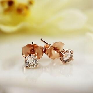 Auriya 14k Rose Gold 1/4 to 3/4ct TDW Round Diamond Stud Earrings (J-K, I1-I2)
