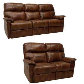 Palma Caramel Brown Italian Leather Reclining Sofa and Loveseat