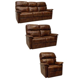 Palma Caramel Brown Italian Leather Reclining Sofa, Loveseat and Chair