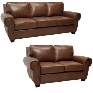 Megan Brown Italian Leather Sofa and Leather Loveseat