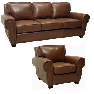 Megan Brown Italian Leather Sofa and Leather Chair