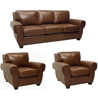 Megan Brown Italian Leather Sofa and Two Leather Chairs