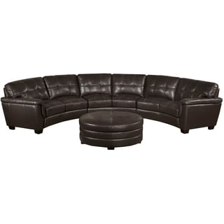 Soho Chocolate Brown Italian Leather Curved Sectional Sofa and Ottoman