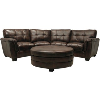 Beck Chocolate Brown Italian Leather Curved Sectional Sofa and Ottoman