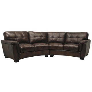 Tribeca Chocolate Brown Italian Leather Curved Sectional Sofa