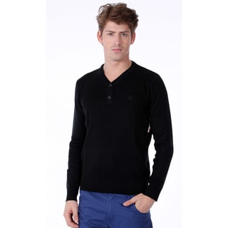 191 Unlimited Men's Black Henley Sweater