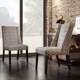 INSPIRE Q Geneva Mocha Honeycomb Wingback Hostess Chairs (Set of 2)