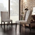 Inspire Q Regency Chain-link Print Nailhead Wingback Hostess Chairs (Set of 2)