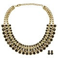 Kate Marie Gold/ Black Fashion Necklace/ Earring Set