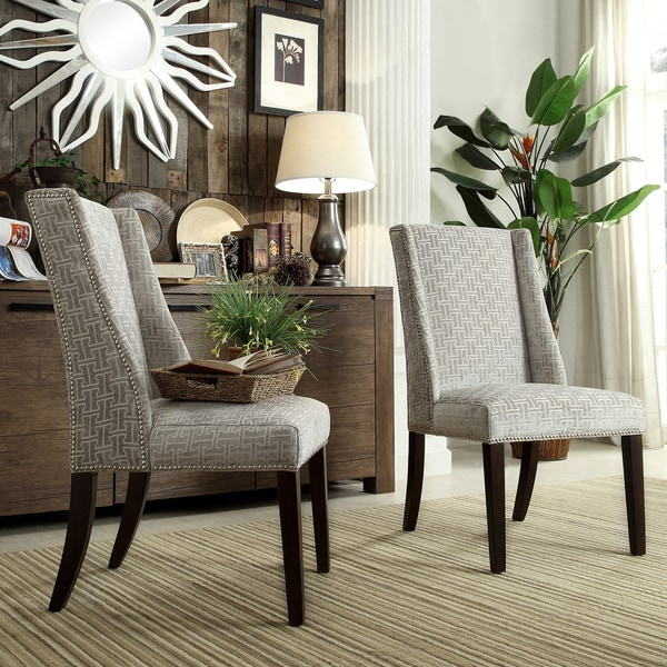 Grey Dining Room Chair : INSPIRE Q Geneva Grey Link Wingback Hostess Chairs (Set of 2)