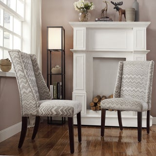 Inspire Q Regency Hip Chevron Print Nailhead Wingback Hostess Chairs (Set of 2)