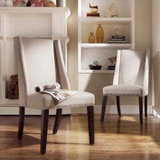 INSPIRE Q Geneva Grey Fabric Wingback Hostess Chairs (Set of 2)