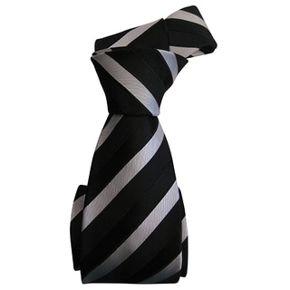 Sophisticated Dmitry Men's Black Patterned Italian Silk Tie
