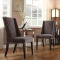 Regency Dark Grey Chenille Nailhead Wingback Hostess Chair (Set of 2)