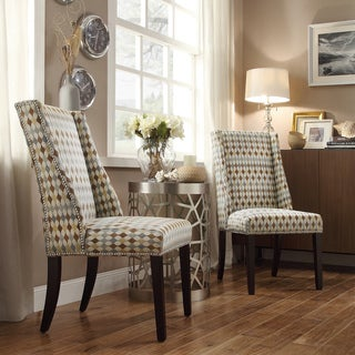 INSPIRE Q Geneva Diamond Impressions Wingback Hostess Chairs (Set of 2)