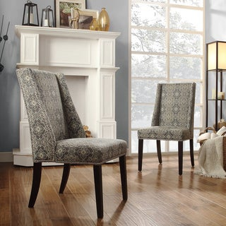 INSPIRE Q Geneva Blue Damask Wingback Hostess Chairs (Set of 2)