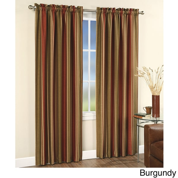 Faux Silk Stripe Rod Pocket 84 Inch Curtain Panel Pair 15851686 Shopping