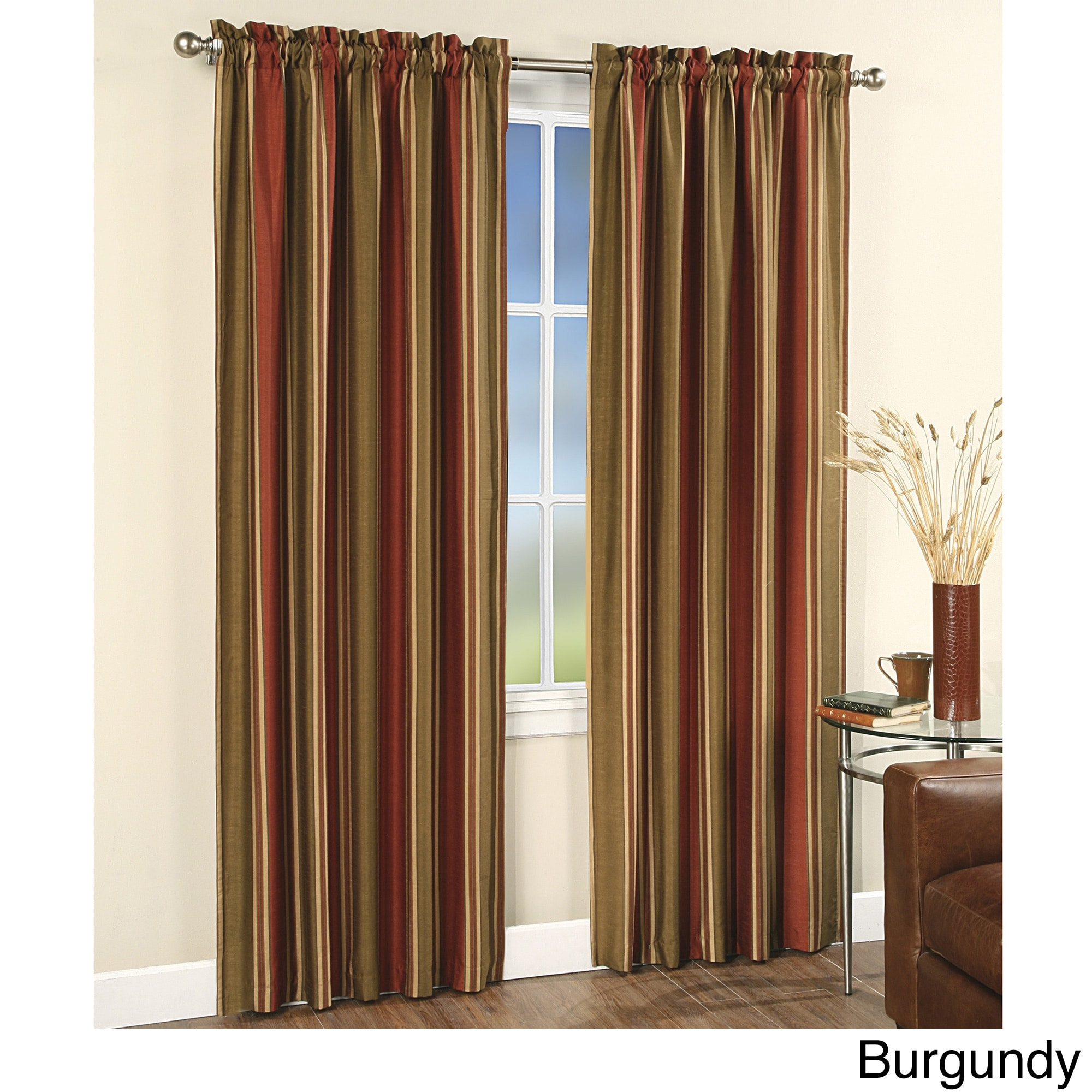 Burgundy Faux Silk Stripe Rod Pocket 84-inch Curtain Panel Pair at Sears.com