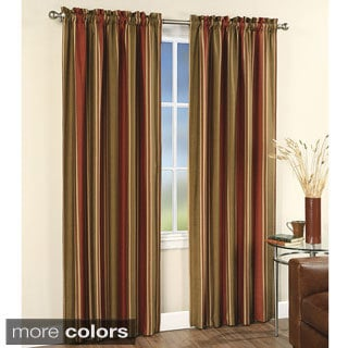 Burgundy Faux Silk Stripe Rod Pocket 84-inch Curtain Panel Pair
