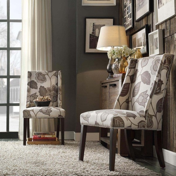 Inspire q geneva grey floral wingback hostess chairs set for Inspire q dining room chairs