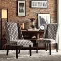 INSPIRE Q Geneva Mocha Wavy Stripe Wingback Hostess Chairs (Set of 2)