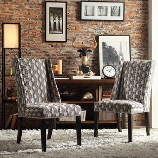 Inspire Q Regency Primary Wavy Stripe Nailhead Wingback Hostess Chairs (Set of 2)