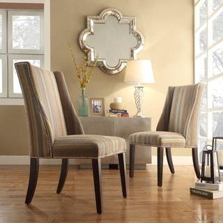 INSPIRE Q Geneva Mocha Tonal Stripe Wingback Hostess Chairs (Set of 2)