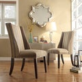 Inspire Q Regency Seamless Stripe Fabric Nailhead Wingback Hostess Chairs (Set of 2)