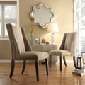 Regency Seamless Stripe Fabric Nailhead Wingback Hostess Chairs (Set of 2)