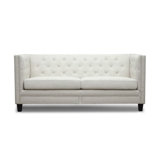 Baxton Studio Parkis Beige Linen Button Tufted Sofa