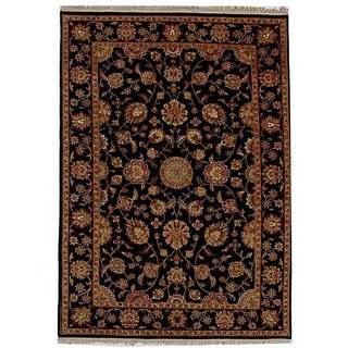 Hand-knotted Black/ Beige Wool Rug (6' x 9')