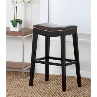 Abbyson Living Rivoli Dark Brown Leather Nailhead Trim Bar Stool