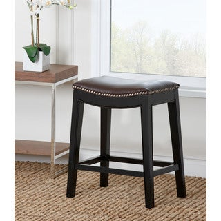 Abbyson Living Rivoli Dark Brown Leather Nailhead Trim Counter Stool