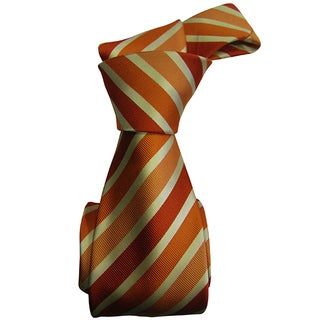 Dmitry Men's Orange-and-Gold Striped Italian Silk Tie