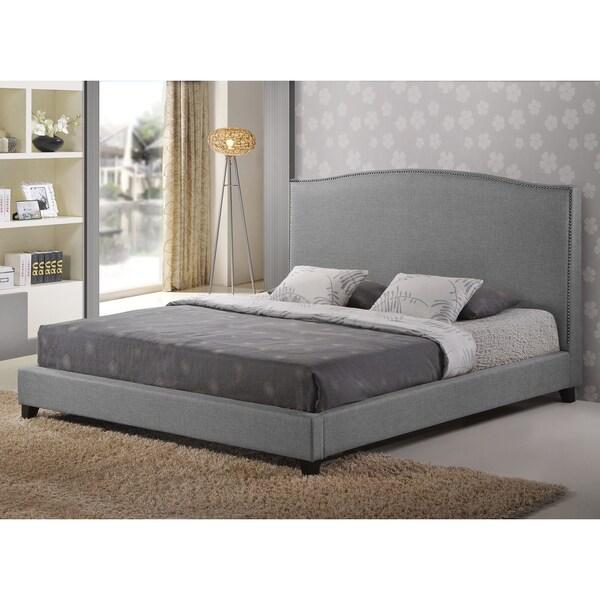 Baxton Studio Hirst Gray Platform Bed : Aisling gray fabric platform bed