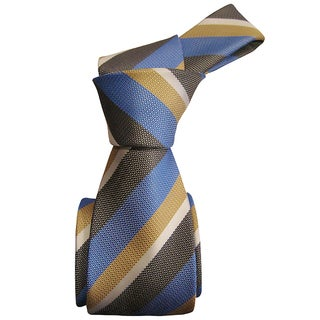 Dmitry Men's Blue Striped Italian Silk 59 Inch Long Tie
