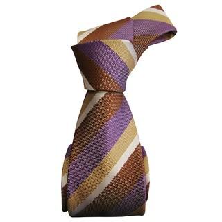 Dmitry Men's Tan Striped Italian Silk Tie