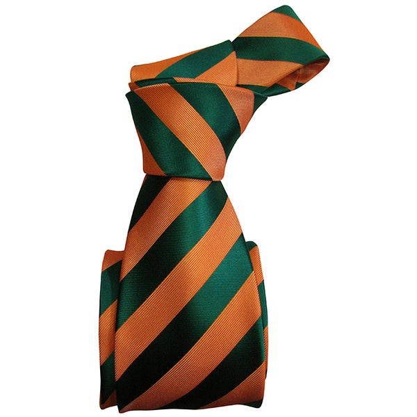 Dmitry Men's Orange-and-Green Striped Italian Silk Tie