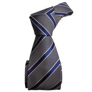 Dmitry Men's Blue Striped Heavy Italian Silk Tie