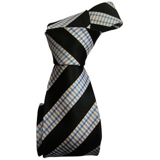 Dmitry Men's Black Striped Italian Silk Tie