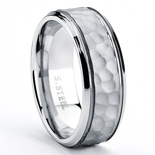 Stainless Steel Men's Hammered Wedding Band Ring